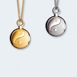 Ashanger mini yin yang in zilver