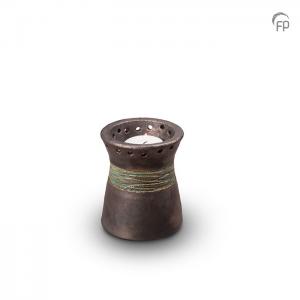 Grijze mini urn met waxinelicht van keramiek die beschreven kan worden.