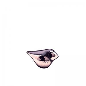 Kleine messing urn in de vorm van een vogel in rvs en donker blauw