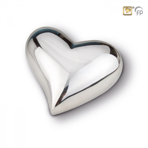 zilver hart mini urn glanzend