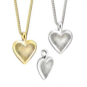 Zilveren hanger hart-touch voor vingerafdruk